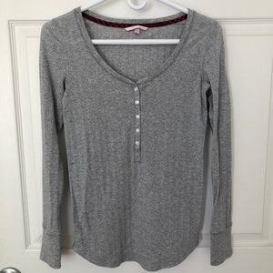 Victoria's Secret Gray Henley Pajama Top